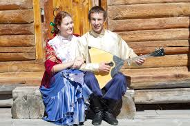 young beautiful and the guy with the balalaika in russian