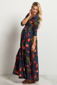 navy blue floral wrap maxi dress