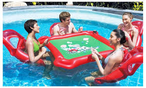 floating table for pool inflatable poker set with floating table and lounge chairs pool