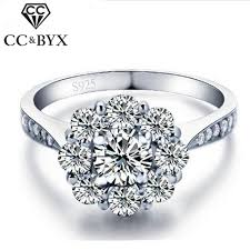 wedding rings flower images White gold color flower wedding rings 925 sterling silver vintage jpg