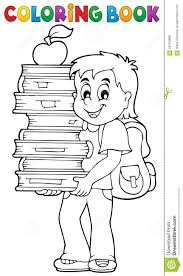 coloring book boy holding books stock vector image 56764888