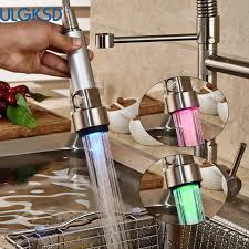 kitchen faucet hose ulgksd led brushed kitchen faucet pull sprayer hose