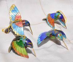 brown and green articulated cloisonne hummingbird ornament