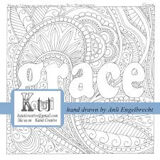 coloring pages for adults faith word grace instant download