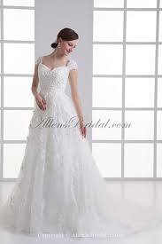 allens bridal lace off the shoulder a line sweep train wedding dress