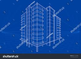 easy edit vector illustration blueprint building stock vector