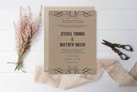 kraft paper wedding invitations rustic swirls kraft paper wedding invitation template diyprintable