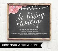 in loving memory wedding 50 editable wedding sign in loving memory printable