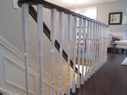 Home Handrails Remodelaholic Updating An Oak Stair Or Handrail To White And Walnut