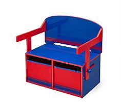 children s desk with storage delta children 3 in 1 storage bench and desk blue red amazon co