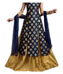 gown design new designer blue jacquard anarkali gown semi stitched suit buy