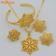 gold necklace with earrings images Anniyo flowers set jewelry women gold color pendant necklace jpg