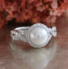 pearl engagement rings halo diamond pearl engagement ring in 10k white gold infinity