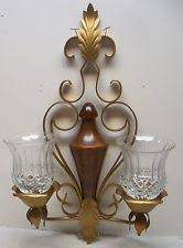 home interiors sconces vintage homco home interiors wood gold sconce w 2 sm clear