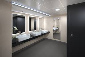 appealing commercial bathroom design with white three small