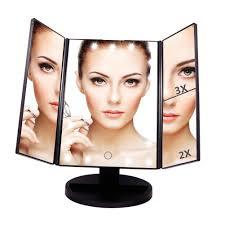 Magnifying Makeup Mirror With Light Artifi Folding Led Travel Mirror 1x And 5x Magnifying Makeup