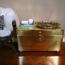 brass trunk coffee table vintage coffee table brass trunk gold chest end table hollywood