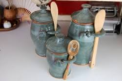 pottery canisters kitchen handmade pottery kitchen canister set of three in slate blue wheel
