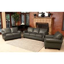 Leather Furniture Living Room Sets Abbyson Living Kensington Leather Sofa Set 3