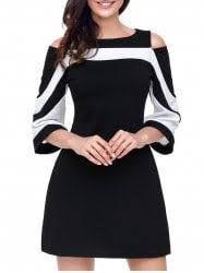 casual color block dress cheap shop fashion style with free