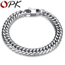 bracelet chain link styles images Opk punk style 316l stainless steel mens bracelet classical biker jpg