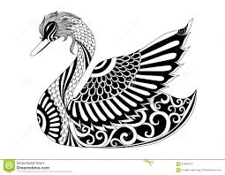 drawing zentangle swan for coloring page shirt design effect