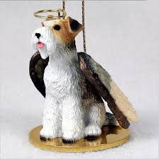 fox terrier figurine ornament statue painted wire
