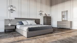 Italian Contemporary Bedroom Sets - nova domus enzo italian modern grey oak u0026 fabric bedroom set