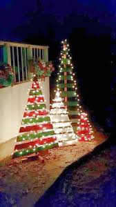 Outside Home Christmas Decorating Ideas Diy Outdoor Wooden Pallet Christmas Trees With Lights Ultimate