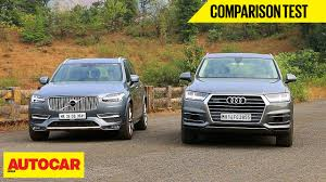 lexus suv used in india audi q7 vs volvo xc90 comparison test autocar india youtube