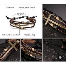 cross bracelet leather images Multi layer leather cross bracelet jpg