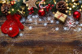 decorations with festive ornaments on rustic wooden