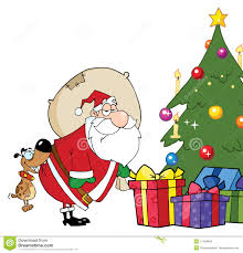 santa put gifts under the christmas tree stock images image