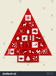 abstract christmas tree made drawers icons stock vector 117205105