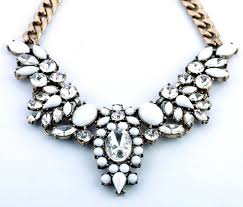 bib necklace rhinestone images Vintage white gem clear rhinestone flower bib necklace wholesale jpg