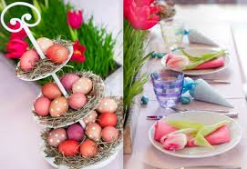 easter table decoration easter table decorations crafts 3 tier cake stand dyed eggs straw