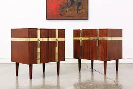 mid century walnut u0026 brass nightstands by henredon vintage