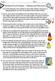 adding decimals word problems worksheet worksheets