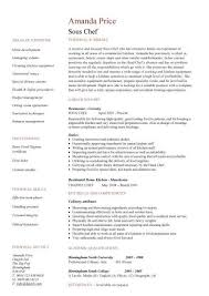 Chef Resumes Sous Chef Cv Sample
