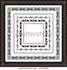 asian ornaments collection frame workpiece your stock vector