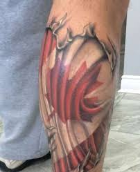ripped skin 3d canadian flag tattoo