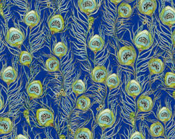 peacock fabric etsy