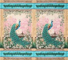 peacock turquoise beige turquoise peacock feather panel fabric bytimeless treasures
