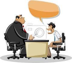 bureau dessin homme de dessin animé parlant avec patron dans le bureau