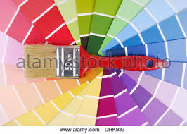 catalog with paint color samples and brush stock photo royalty