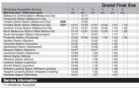 Metro Time Table Atdb U2022 View Topic Grand Final Eve Public Hoilday Timetables