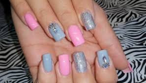 acrylic nails l infill l pink u0026 grey l nail design youtube