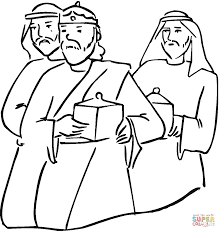 wise men with gifts in their hands coloring page free printable