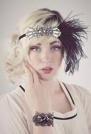 flapper headband deco flapper headband antique silver beading with black or