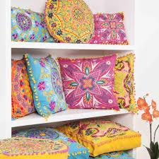 Pink Round Cushion Embroidered Suzani Square Cushion Pink From Jasmine Living Uk